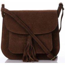 Vittoria Gotti kožená kabelka listonoška hnědá 7d655ee32f5