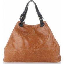 940458173a Genuine Leather kožená italská kabelka Zrzavá