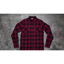 Urban Classics Checked Flanell Shirt černá / tmavě vínová