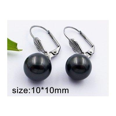 Zyta Náušnice chirurgická ocel černá perla černé 20409
