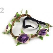Pružná čelenka s květy fialová gerbera 6ks