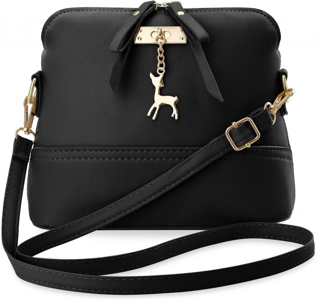 4a99443d4d Kabelka dámská kabelka kufřík s přívěskem ve tvaru srnky černá ...