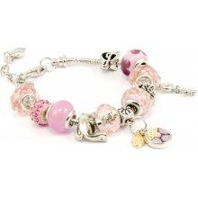 Murano náramek z vinutých perel Dora růžová 10001812001