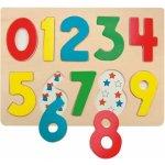Woody dřevěné Puzzle na desce Číslice s beruškami