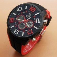 Quamer Sport Watch, Black/Red