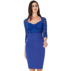 833ad191d46 CityGoddess krajkové midi šaty Joya královská modrá