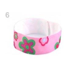 Dětská elastická čelenka s květy růžová střední