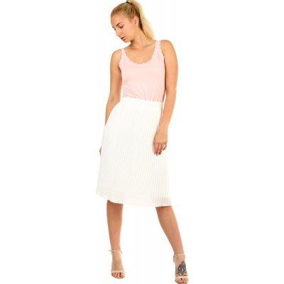 Glara plisovaná skládaná midi sukně v pase pružná bílá 335323