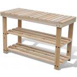 241067 vidaXL Dřevěný odolný botník s lavicí 2-v-1