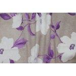 Dekorační látka- ESENCIA LILA, velké květy bílé s fialovými listy= ZBYTEK 0,90 m 140cm