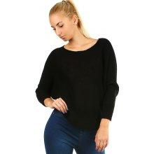 Glara Dámský krátký pletený svetr s netopýřími rukávy černá bebb28cee3
