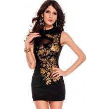 c8dd4c91aabf KouCla dámské šaty se zlatým potiskem černá