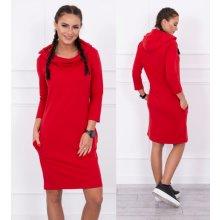 2351ce35cf Kesi denní šaty s kapucí a dlouhým rukávem Rowena červená