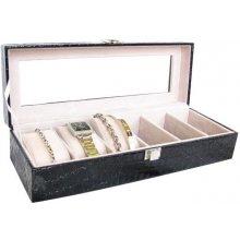 Trading koženková šperkovnice na řetízky a hodinky dlouhá Jewel Safe černá 1d376056ef