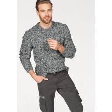 Rhode Island pletený svetr, tmavě šedá-vlněná bílá