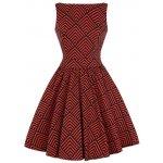 Lady V London šaty s geometrickými tvary Tea cihlovo černá 5fc37215b5
