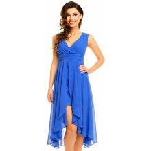 MAYAADI dámské společenské šaty šifonové s asymetrickou sukní modrá c06effe26d
