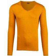 245196299b1 Bolf bk548 Hořčícové pánské tričko s dlouhým rukávem bez potisku