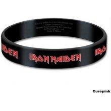 CurePink silikonový náramek Iron Maiden: Logo černý IMGUM01