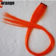 clip in vlasy, barevný klip, pramínek do vlasů v délce 50cm - oranžový