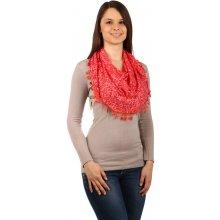 Glara Elegantní dámský vzorovaný šátek s třásněmi červená138722 d42b8f1dd2