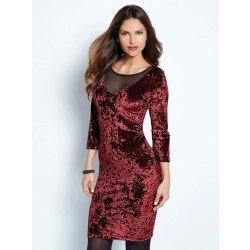 Dámské šaty Venca sametové šaty s krajkou a 3 4 rukávy granátová 619314a3715