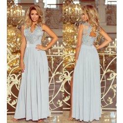Numoco večerní dlouhé šaty s krajkou Janette stříbrná alternativy ... 9cc08fa636