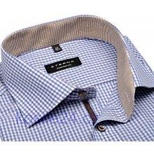 695ecf9b31e Eterna Comfort Fit košile s modro-béžovým kárem s vnitřním límcem