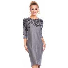 Společenské šaty zdobené vzorem na živůtku 3 4 rukáv středně dlouhé šedá ede5a64903