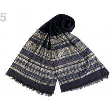 Šátek   šála s lurexem 65x175 cm 10 ks 5 modrá tmavá zlatá c79c8f047b
