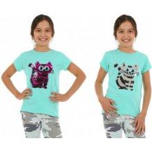 Tričko měnící flitry kočka mint