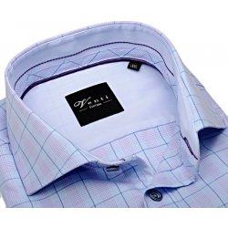 Pánská Košile Venti Slim Fit – světle modrá košile s dvojím kárem a vnitřním  límcem - 544003a561