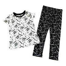 M&S 2set Bílé tričko + černé legíny s obrázky