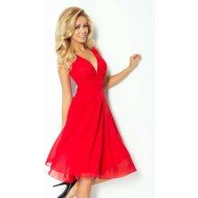 SHKARA 353 Luxusní dámské společenské a plesové šifonové šaty červené