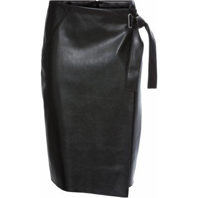 Bonprix koženková sukně v zavinovacím vzhledu černá