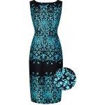 Lady V London pouzdrové šaty s tyrkysovým vzorem Venus 5c73cd3be8