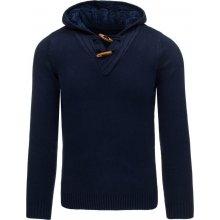 Tmavě modrý pánský svetr s výstřihem do V (wx1007)