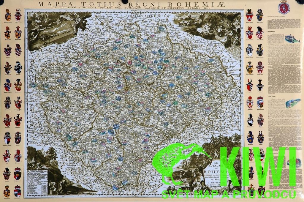 Nastenna Mapa Hrady A Zamky Na Podkladu Mullerovy Mapy Z Roku 1
