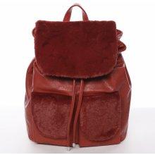 Šantel elegantní dámský batoh s kožíškem červený cfa2555872