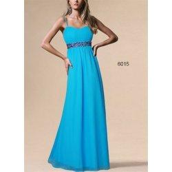 Modré dlouhé šifonové šaty s růžovými kamínky na svatbu alternativy ... e38ff62a6b7