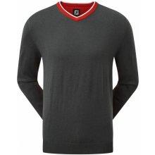 FootJoy svetr Wool Blend V-Neck šedo červený