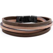 Lucleon Hnědý a světle hnědý náramek Double wrap MP_bracelet225