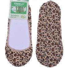 Bambusové ponožky do balerín leopard - béžová