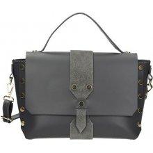 Vera Pelle moderní kožená kufříková kabelka se cvočky šedá cc37f5293d0