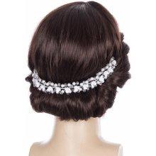 cf54fcbe2e6 Svatební ozdoba do vlasů - čelenka crystal krystalky a perly do vlasů  CV0112-12