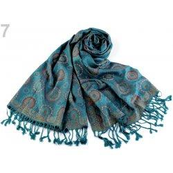 932e22f1c0f Šála typu pashmina s třásněmi 68x175 cm tyrkys 1 ks alternativy ...