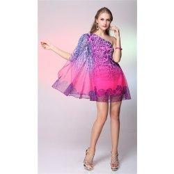 Růžové krátké letní společenské šaty šifonové na jedno rameno s potiskem 2dbd21ac3e5