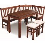 Aza Rohová lavice 6 set stůl + židle 120 barev