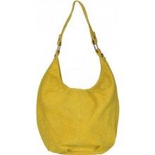 kabelka z broušené kůže 33 výrazná žlutá