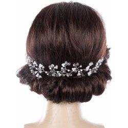 Svatební ozdoba do vlasů - čelenka Stříbrná větvička s perly a krystalky  CV0089-12 eb7658b7c3